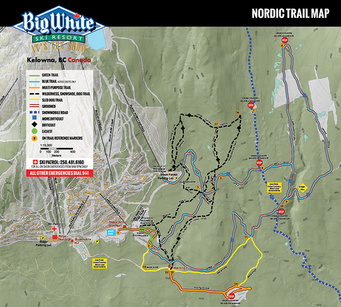 A trail map that highlights all the different paths for people to cross-country ski.